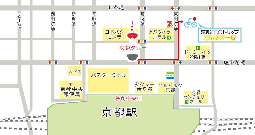 京都塔分店地図